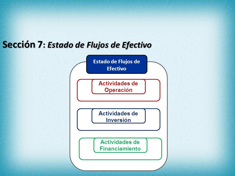 Sección 7: Estado de Flujos de Efectivo Flujos de efectivo por actividades de inversión Cobros por venta de equipos1000 Compras de equipos(485)(435) Flujos de efectivo neto por actividades de inversión(385)(435) Flujos de efectivo por actividades de financiamiento Pago de pasivos derivados de arrendamientos financieros(20)(18) Reembolso de préstamo(100)0 Dividendos pagados(150)(100) Flujos de efectivo neto por actividades de financiamiento(270)(118) Aumento (disminución) neto en el efectivo38(91) Efectivo al comienzo del período(93)(2) Efectivo al final del período(55)(93) 20X220X1 Flujos de efectivo por actividades de operación Cobro a clientes970649 Cobro de otros ingresos64 Pagos a proveedores y trabajadores(260)(170) Pago de intereses(1) Pago de impuestos(80)(16) Flujos de efectivo neto por actividades de operación693462 MÉTODO DIRECTO