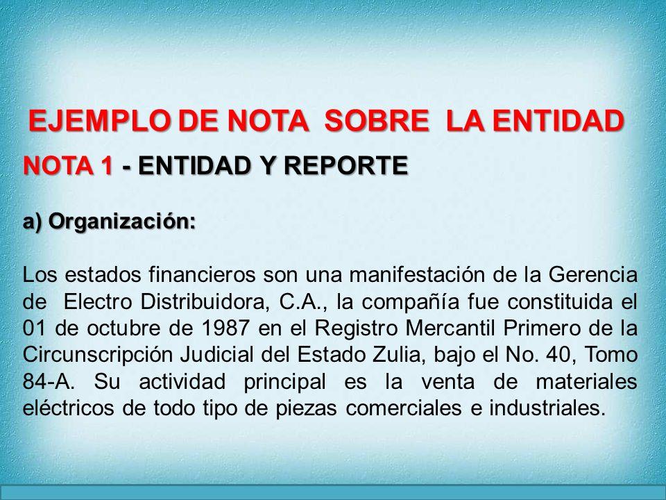 NOTA 1 - ENTIDAD Y REPORTE ) Organización (Continuación): a) Organización (Continuación): Electro Distribuidora, C.A., posee un capital social totalmente suscrito y pagado el cual ha sido enterado en caja por los accionistas.