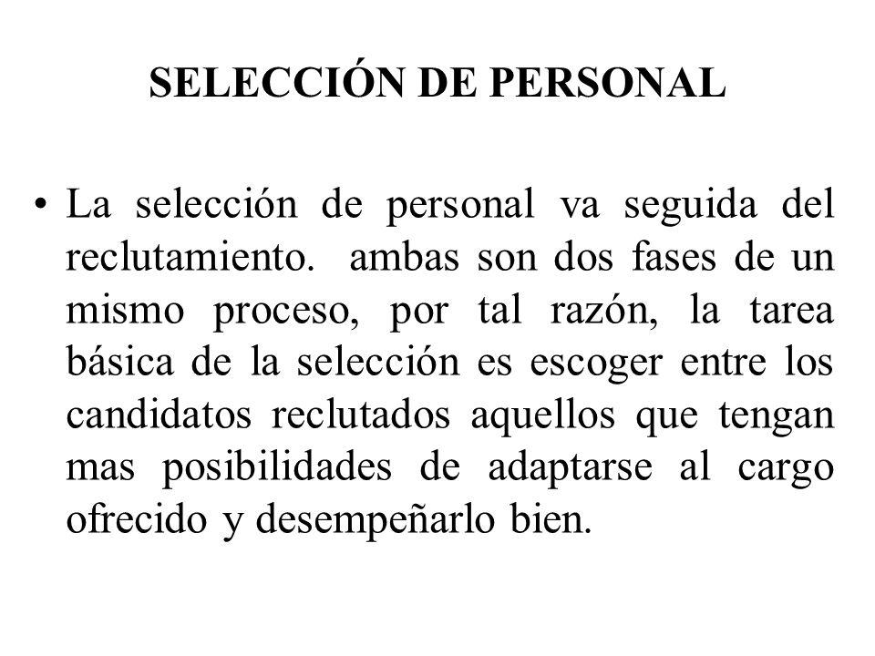 La selección como proceso de decisión luego de la comparación entre las características exigidas por el cargo y las de los candidatos, a veces varios de ellos cumplen con dichas exigencias.