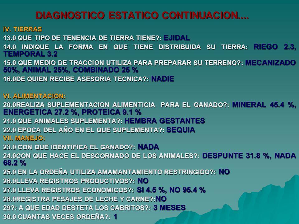DIAGNOSTICO ESTATICO CONTINUACION.... IV. TIERRAS 13.0 QUE TIPO DE TENENCIA DE TIERRA TIENE?: EJIDAL 14.0 INDIQUE LA FORMA EN QUE TIENE DISTRIBUIDA SU
