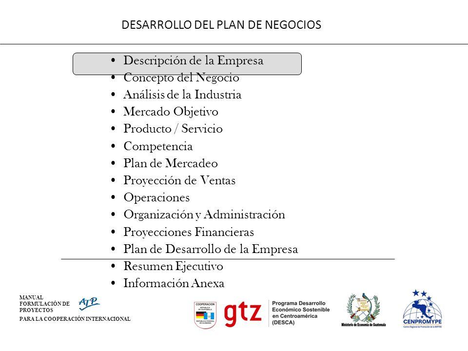 MANUAL FORMULACIÓN DE PROYECTOS PARA LA COOPERACIÓN INTERNACIONAL DESARROLLO DEL PLAN DE NEGOCIOS Descripción de la Empresa Concepto del Negocio Análi