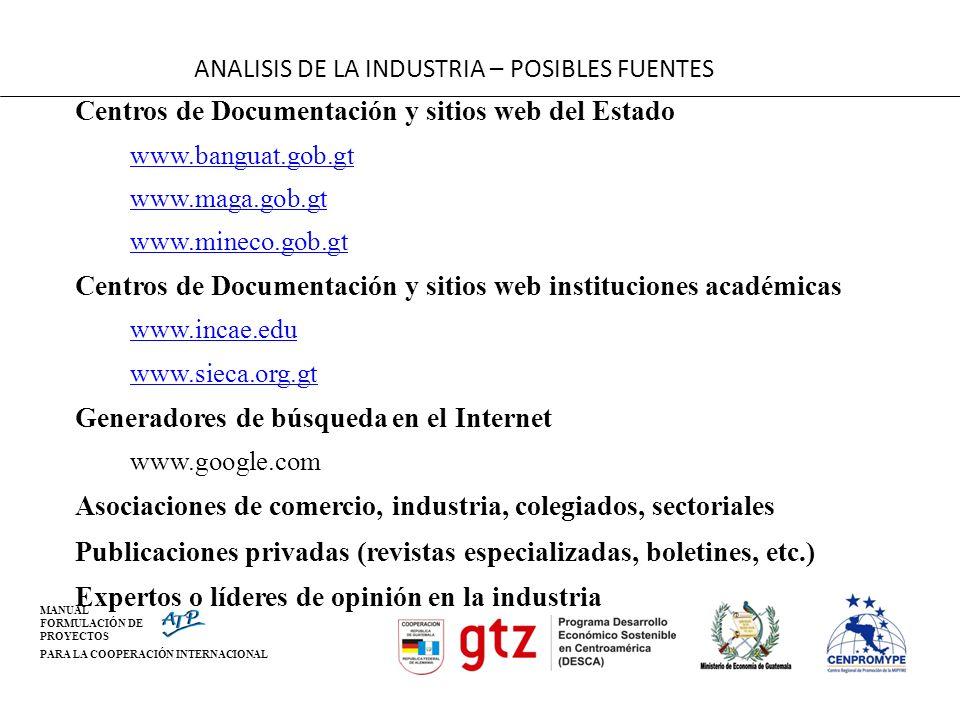 MANUAL FORMULACIÓN DE PROYECTOS PARA LA COOPERACIÓN INTERNACIONAL ANALISIS DE LA INDUSTRIA – POSIBLES FUENTES Centros de Documentación y sitios web de