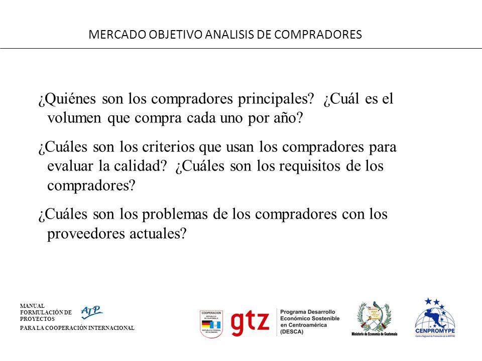 MANUAL FORMULACIÓN DE PROYECTOS PARA LA COOPERACIÓN INTERNACIONAL MERCADO OBJETIVO ANALISIS DE COMPRADORES ¿Quiénes son los compradores principales? ¿