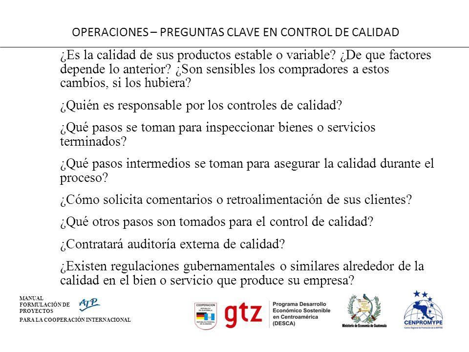 MANUAL FORMULACIÓN DE PROYECTOS PARA LA COOPERACIÓN INTERNACIONAL OPERACIONES – PREGUNTAS CLAVE EN CONTROL DE CALIDAD ¿ Es la calidad de sus productos