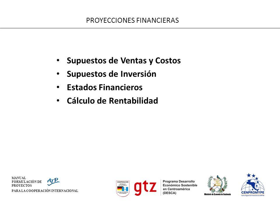 MANUAL FORMULACIÓN DE PROYECTOS PARA LA COOPERACIÓN INTERNACIONAL PROYECCIONES FINANCIERAS Supuestos de Ventas y Costos Supuestos de Inversión Estados
