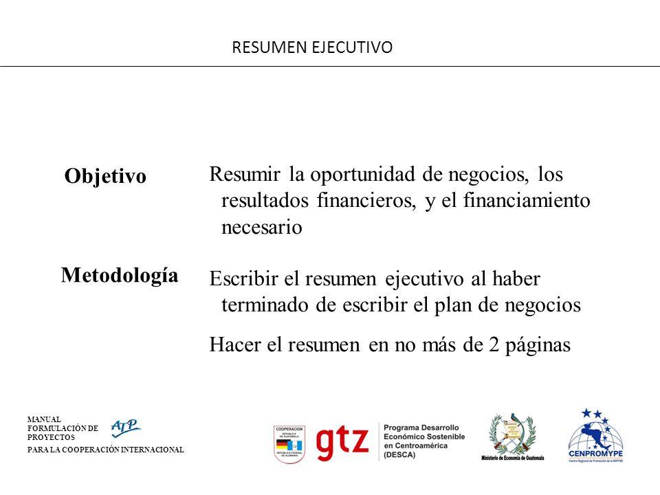 MANUAL FORMULACIÓN DE PROYECTOS PARA LA COOPERACIÓN INTERNACIONAL RESUMEN EJECUTIVO Objetivo Resumir la oportunidad de negocios, los resultados financ