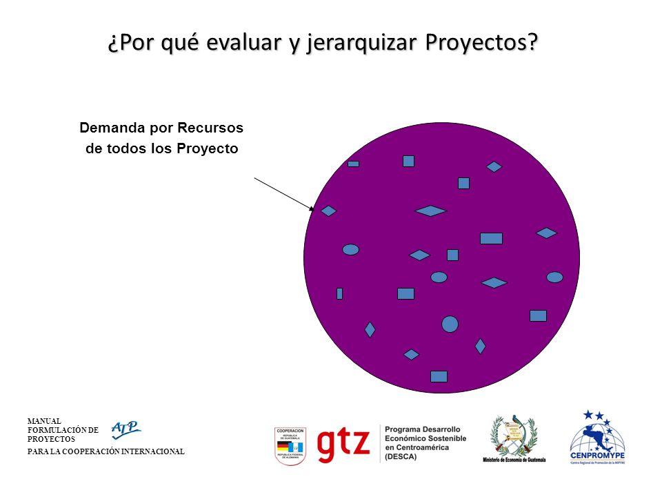 MANUAL FORMULACIÓN DE PROYECTOS PARA LA COOPERACIÓN INTERNACIONAL ¿Por qué evaluar y jerarquizar Proyectos? Demanda por Recursos de todos los Proyecto