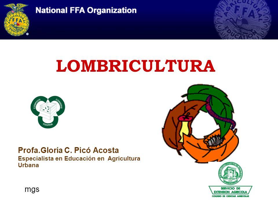 LOMBRICULTURA Profa.Gloria C. Picó Acosta Especialista en Educación en Agricultura Urbana mgs