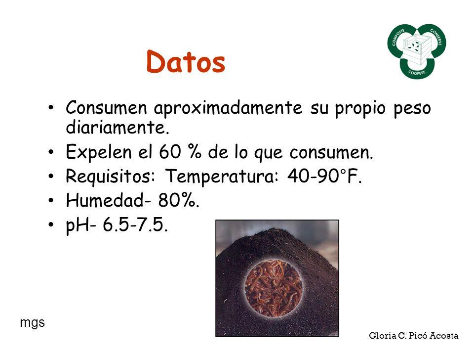 Datos Consumen aproximadamente su propio peso diariamente. Expelen el 60 % de lo que consumen. Requisitos: Temperatura: 40-90°F. Humedad- 80%. pH- 6.5