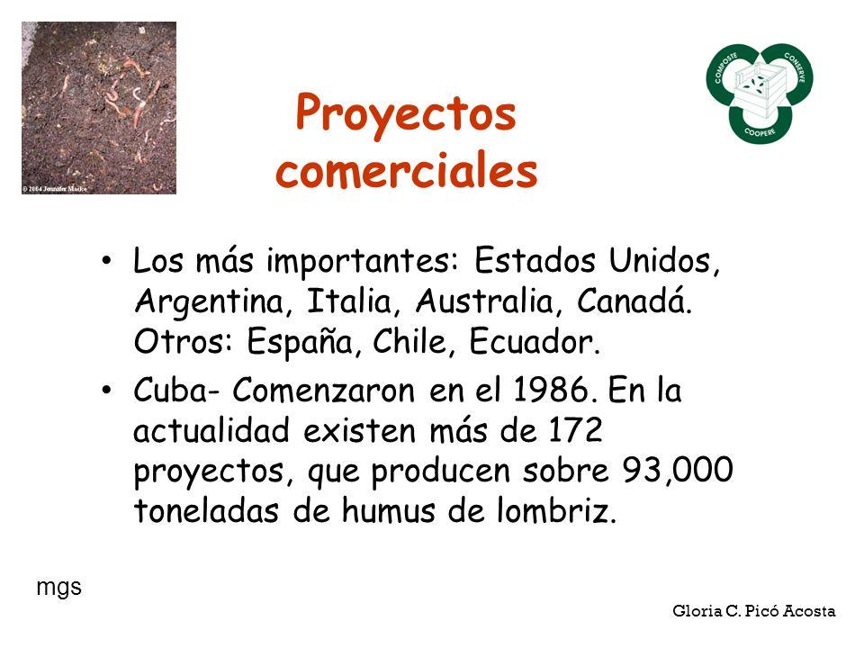 Proyectos comerciales Los más importantes: Estados Unidos, Argentina, Italia, Australia, Canadá. Otros: España, Chile, Ecuador. Cuba- Comenzaron en el