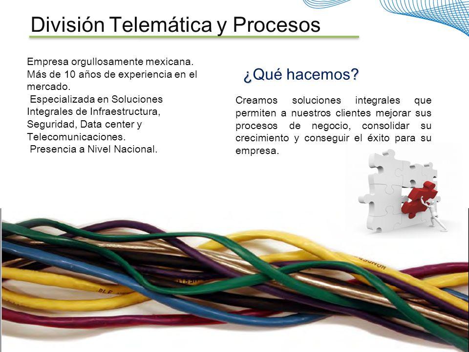Empresa orgullosamente mexicana. Más de 10 años de experiencia en el mercado. Especializada en Soluciones Integrales de Infraestructura, Seguridad, Da