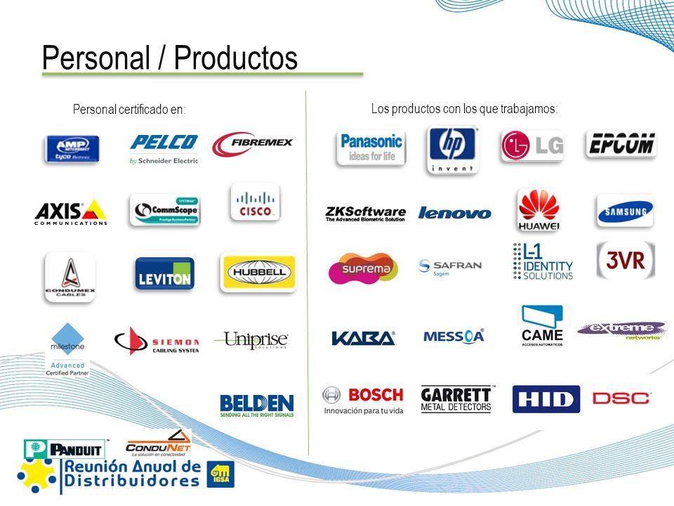Personal / Productos Los productos con los que trabajamos: Personal certificado en: