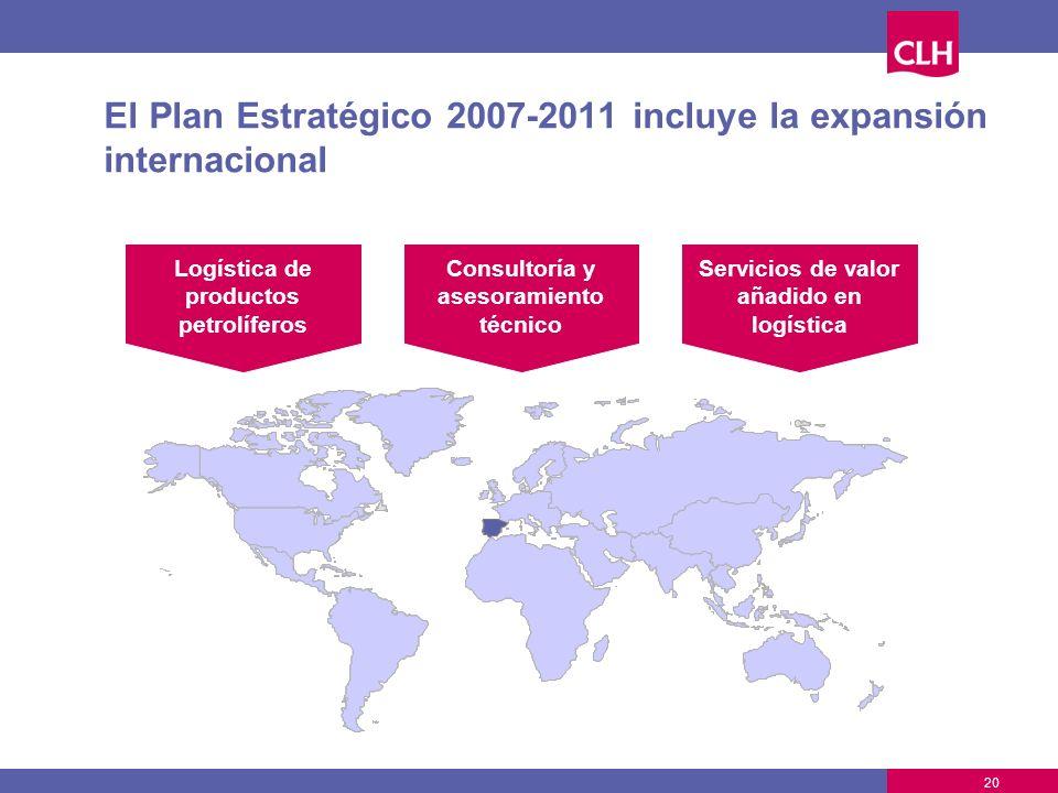 20 El Plan Estratégico 2007-2011 incluye la expansión internacional Logística de productos petrolíferos Consultoría y asesoramiento técnico Servicios