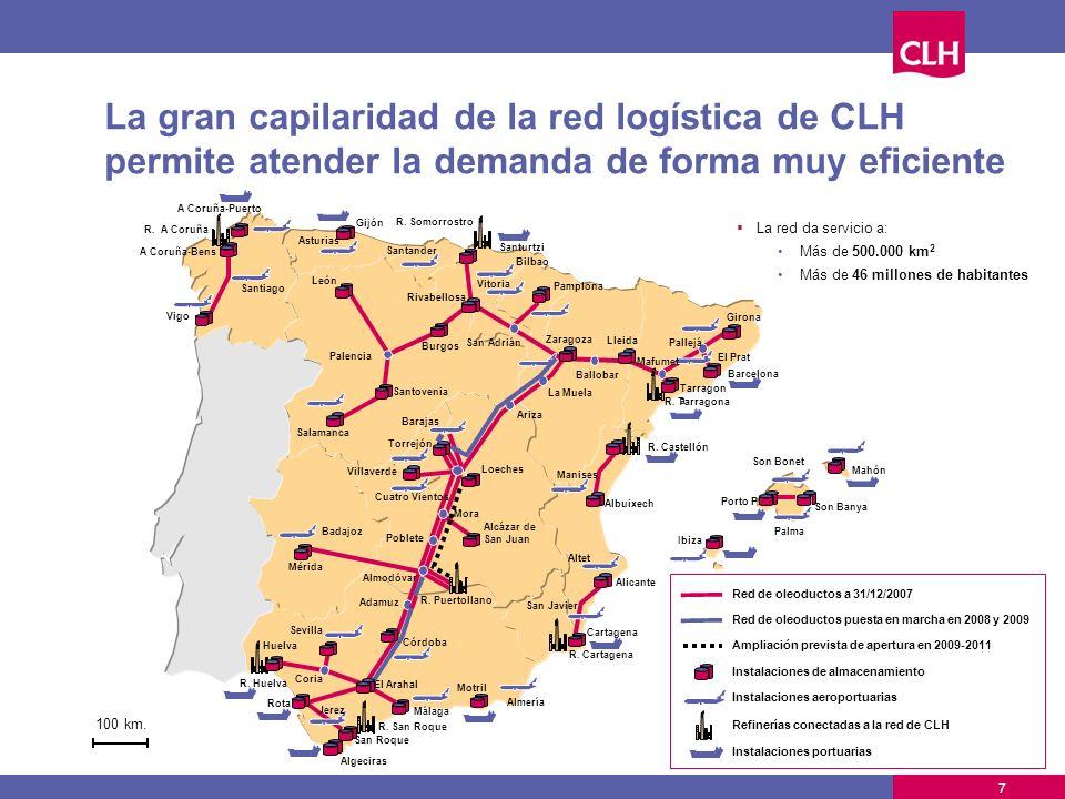 La gran capilaridad de la red logística de CLH permite atender la demanda de forma muy eficiente Almodóvar Coria El Arahal Poblete Mora San Adrián Pal