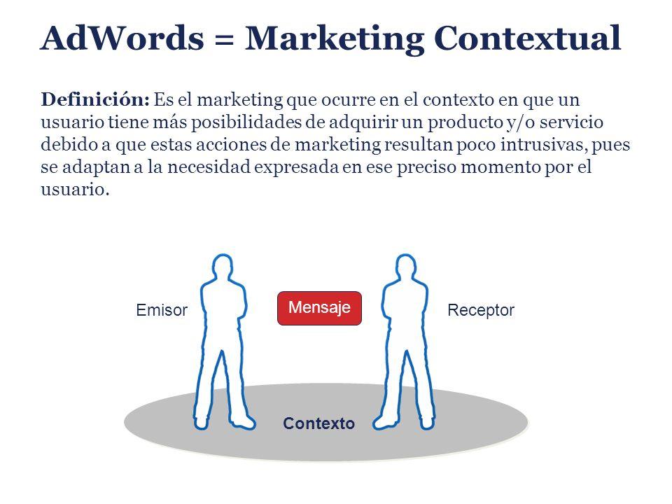 AdWords = Marketing Contextual Definición: Es el marketing que ocurre en el contexto en que un usuario tiene más posibilidades de adquirir un producto