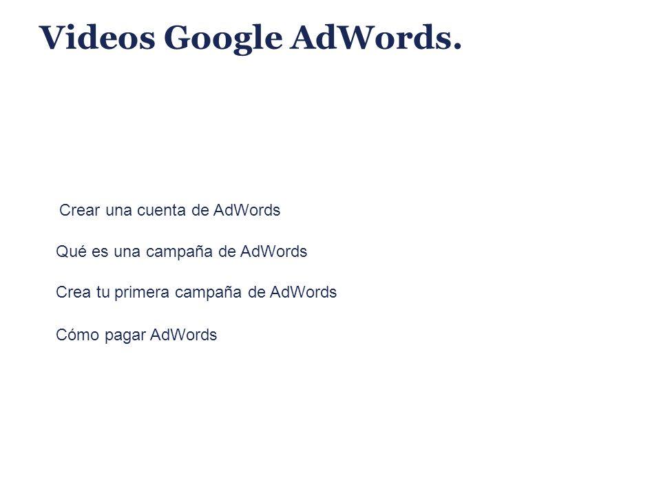 Videos Google AdWords. Crear una cuenta de AdWords Qué es una campaña de AdWords Crea tu primera campaña de AdWords Cómo pagar AdWords