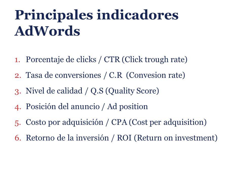 Principales indicadores AdWords 1.Porcentaje de clicks / CTR (Click trough rate) 2.Tasa de conversiones / C.R (Convesion rate) 3.Nivel de calidad / Q.