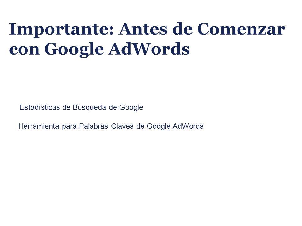 Importante: Antes de Comenzar con Google AdWords Estadísticas de Búsqueda de Google Herramienta para Palabras Claves de Google AdWords