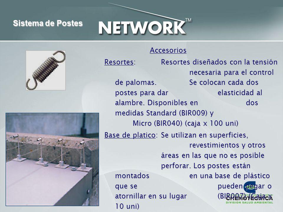 Accesorios Resortes:Resortes diseñados con la tensión necesaria para el control de palomas. Se colocan cada dos postes para dar elasticidad al alambre
