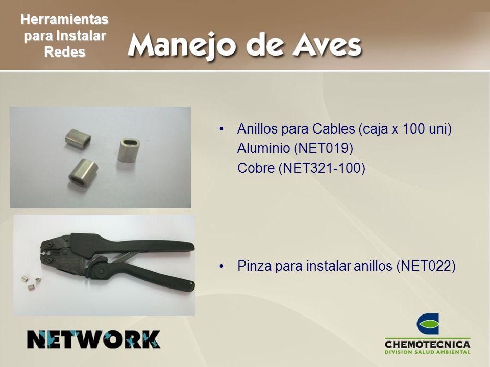 Herramientas para Instalar Redes Anillos para Cables (caja x 100 uni) Aluminio (NET019) Cobre (NET321-100) Pinza para instalar anillos (NET022)