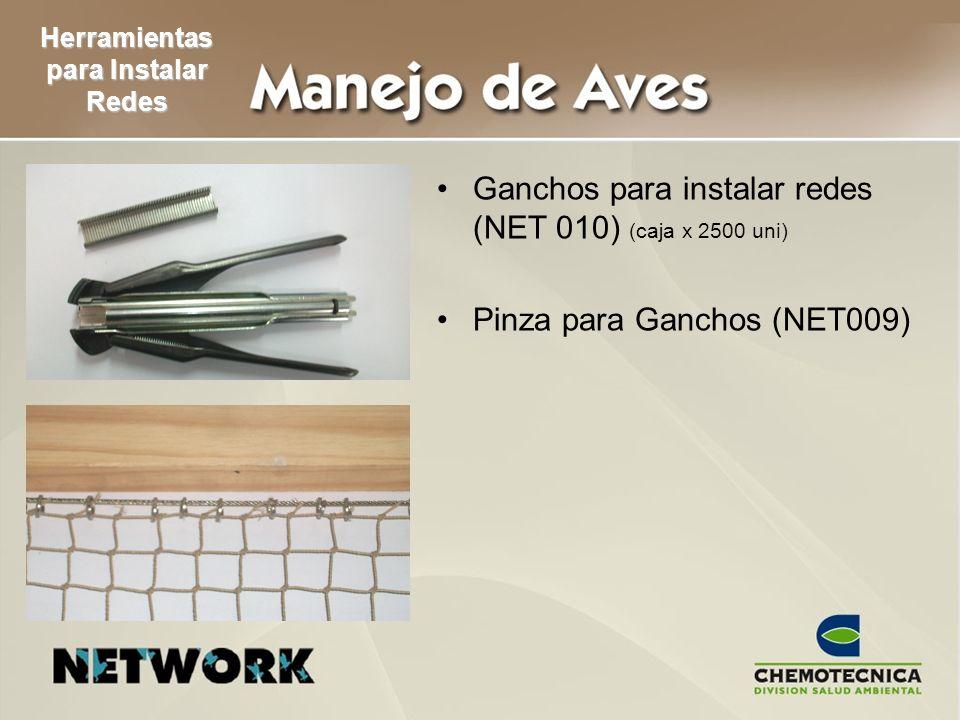 Ganchos para instalar redes (NET 010) (caja x 2500 uni) Pinza para Ganchos (NET009) Herramientas para Instalar Redes