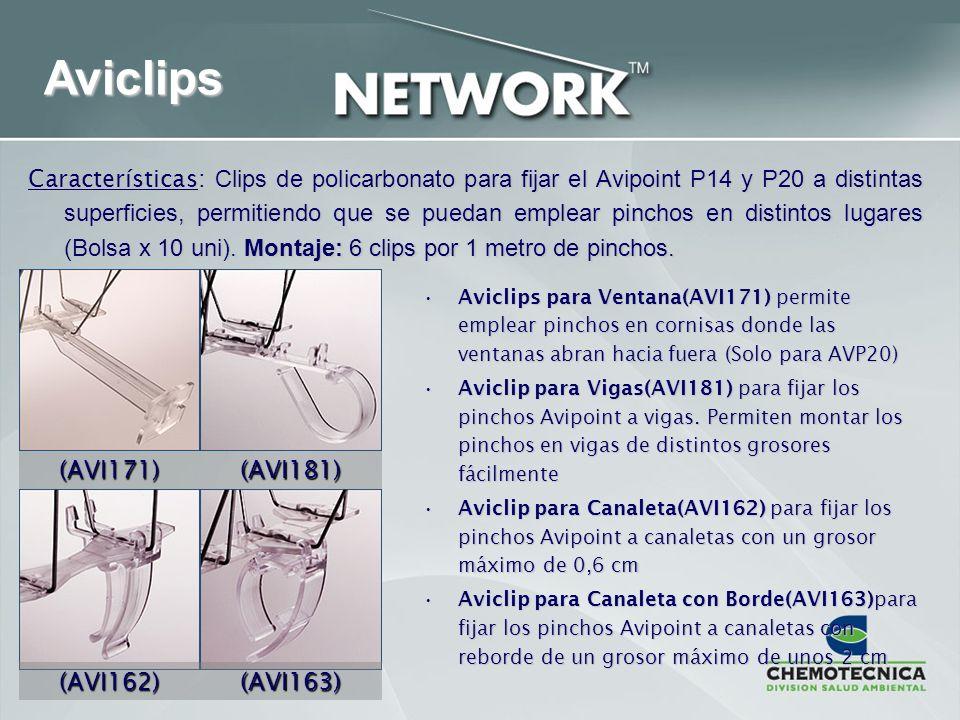 Aviclips Características: Clips de policarbonato para fijar el Avipoint P14 y P20 a distintas superficies, permitiendo que se puedan emplear pinchos e