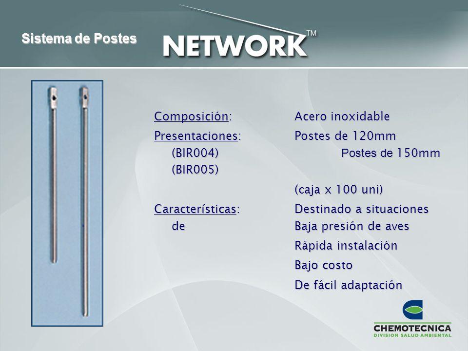 Sistema de Postes Composición: Acero inoxidable Presentaciones:Postes de 120mm (BIR004) Postes de 150mm (BIR005) (caja x 100 uni) Características:Dest