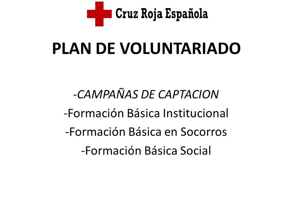 PLAN DE VOLUNTARIADO -CAMPAÑAS DE CAPTACION -Formación Básica Institucional -Formación Básica en Socorros -Formación Básica Social