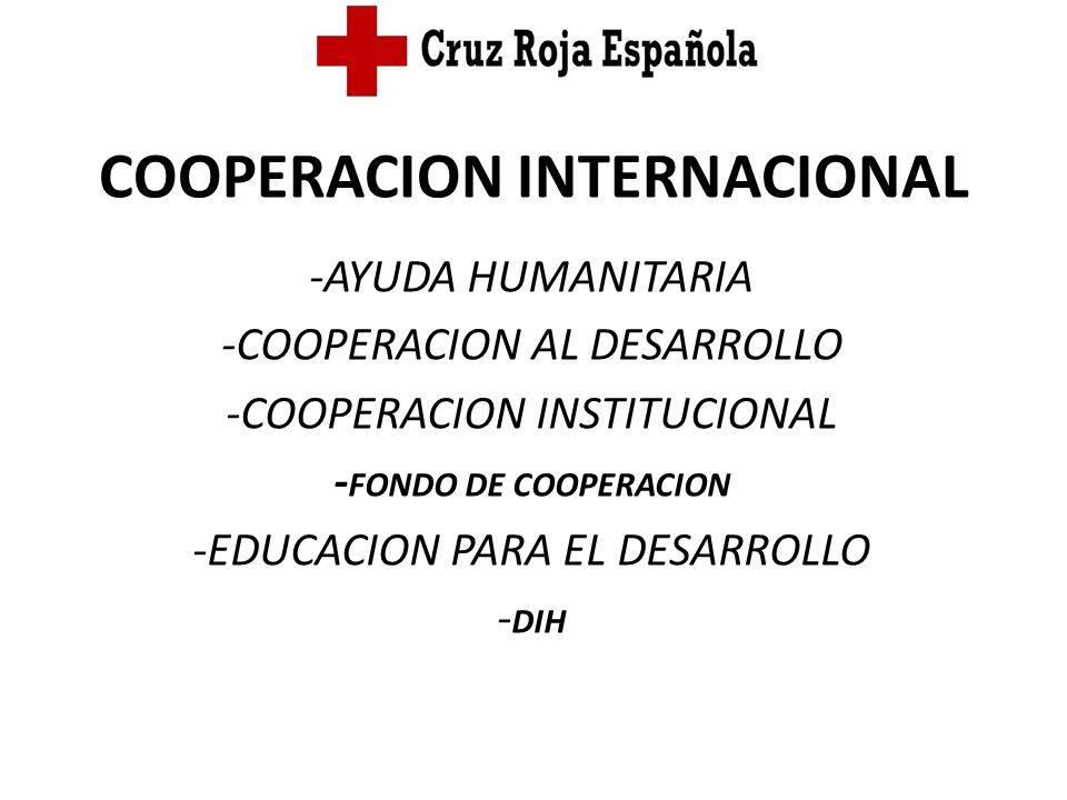 COOPERACION INTERNACIONAL -AYUDA HUMANITARIA -COOPERACION AL DESARROLLO -COOPERACION INSTITUCIONAL - FONDO DE COOPERACION -EDUCACION PARA EL DESARROLL
