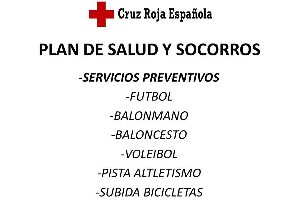 PLAN DE SALUD Y SOCORROS -SERVICIOS PREVENTIVOS -FUTBOL -BALONMANO -BALONCESTO -VOLEIBOL -PISTA ALTLETISMO -SUBIDA BICICLETAS
