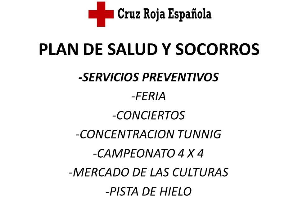 PLAN DE SALUD Y SOCORROS -SERVICIOS PREVENTIVOS -FERIA -CONCIERTOS -CONCENTRACION TUNNIG -CAMPEONATO 4 X 4 -MERCADO DE LAS CULTURAS -PISTA DE HIELO