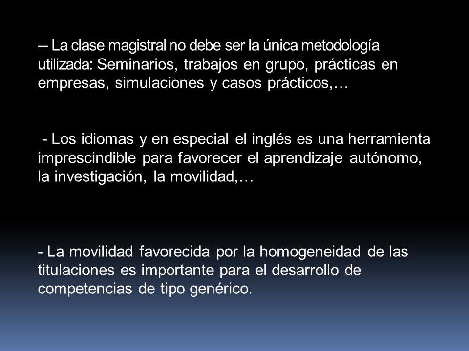 -- La clase magistral no debe ser la única metodología utilizada: Seminarios, trabajos en grupo, prácticas en empresas, simulaciones y casos prácticos