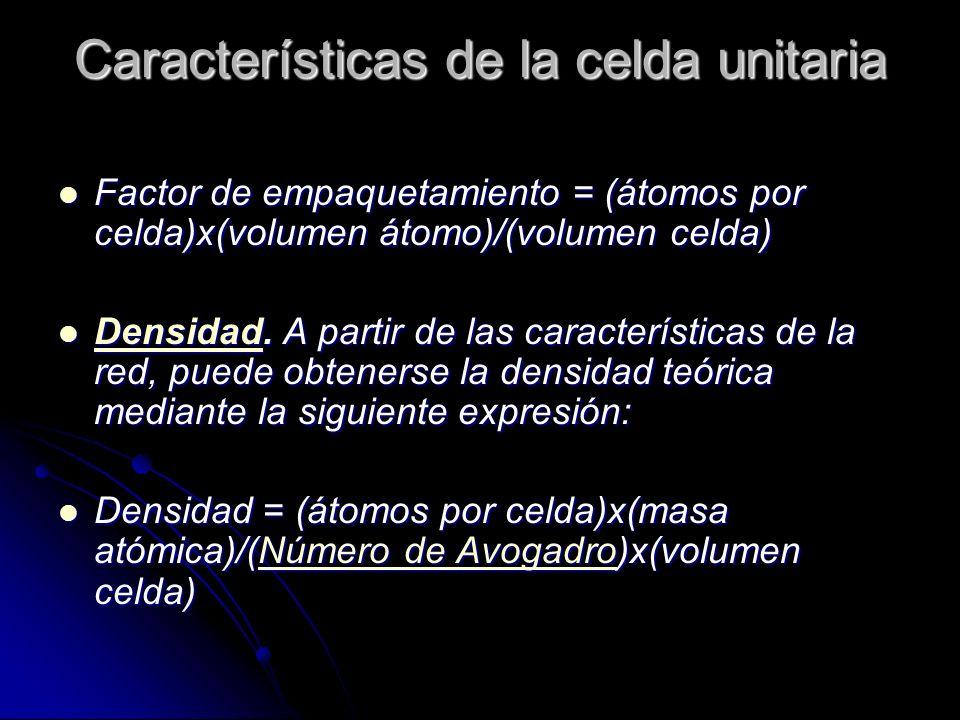 Características de la celda unitaria Factor de empaquetamiento = (átomos por celda)x(volumen átomo)/(volumen celda) Factor de empaquetamiento = (átomo