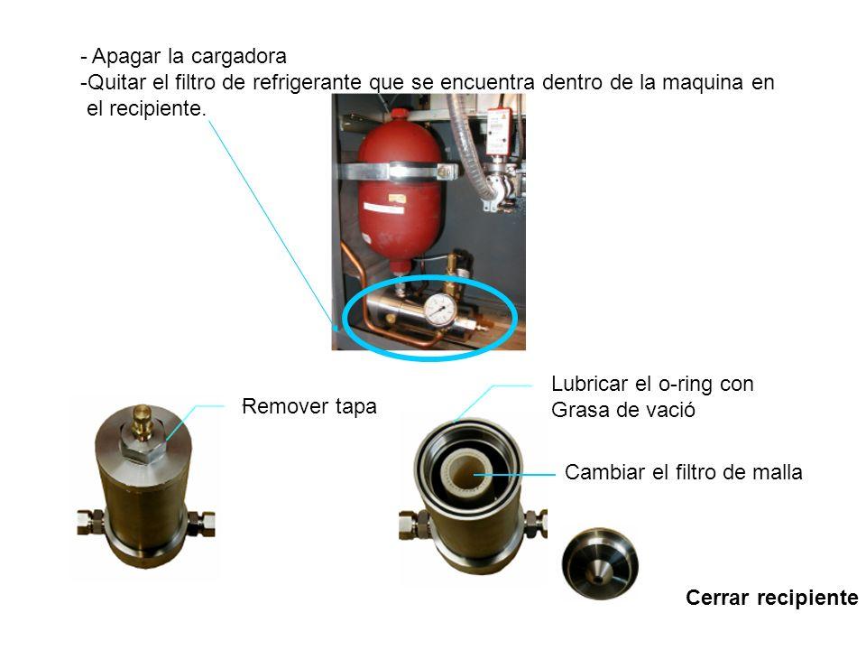 - Apagar la cargadora -Quitar el filtro de refrigerante que se encuentra dentro de la maquina en el recipiente.