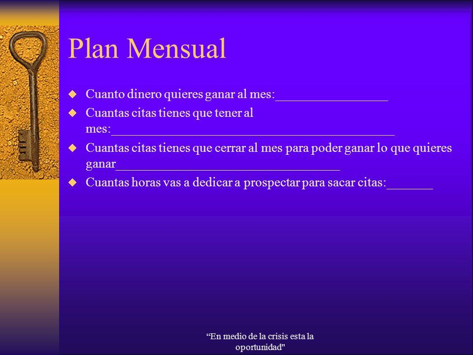 Plan Mensual Cuanto dinero quieres ganar al mes:_________________ Cuantas citas tienes que tener al mes:___________________________________________ Cu