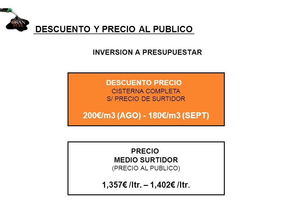 INVERSION A PRESUPUESTAR DESCUENTO Y PRECIO AL PUBLICO PRECIO MEDIO SURTIDOR (PRECIO AL PUBLICO) 1,357 /ltr. – 1,402 /ltr. DESCUENTO PRECIO CISTERNA C