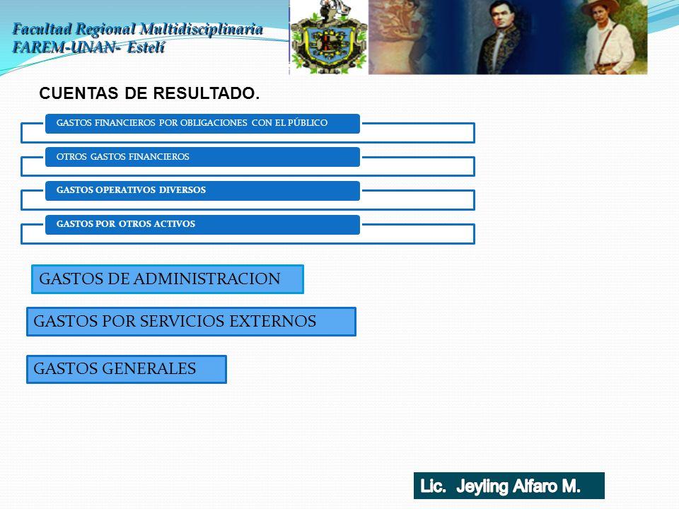 Facultad Regional Multidisciplinaria FAREM-UNAN- Estelí CUENTAS DE RESULTADO. GASTOS FINANCIEROS POR OBLIGACIONES CON EL PÚBLICOOTROS GASTOS FINANCIER