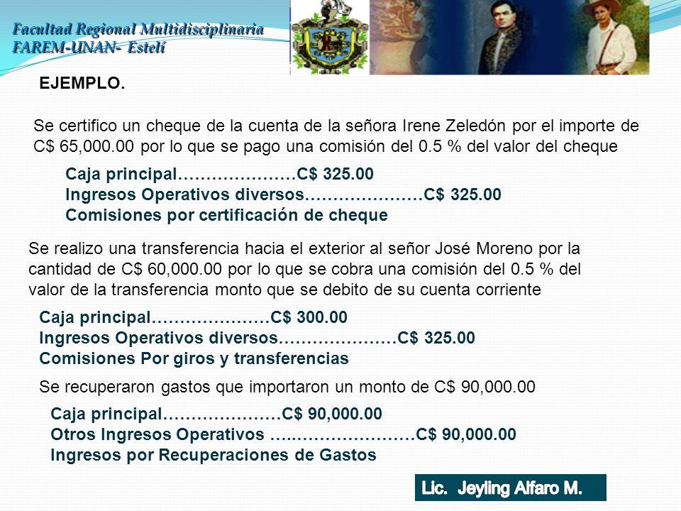 Facultad Regional Multidisciplinaria FAREM-UNAN- Estelí EJEMPLO. Se certifico un cheque de la cuenta de la señora Irene Zeledón por el importe de C$ 6