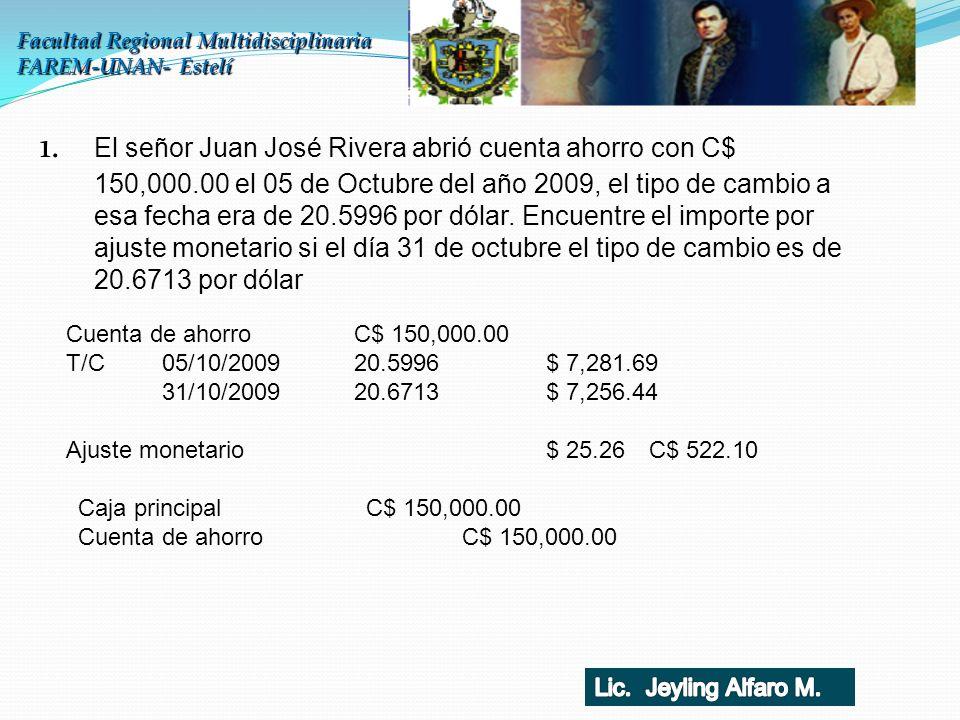 1. El señor Juan José Rivera abrió cuenta ahorro con C$ 150,000.00 el 05 de Octubre del año 2009, el tipo de cambio a esa fecha era de 20.5996 por dól