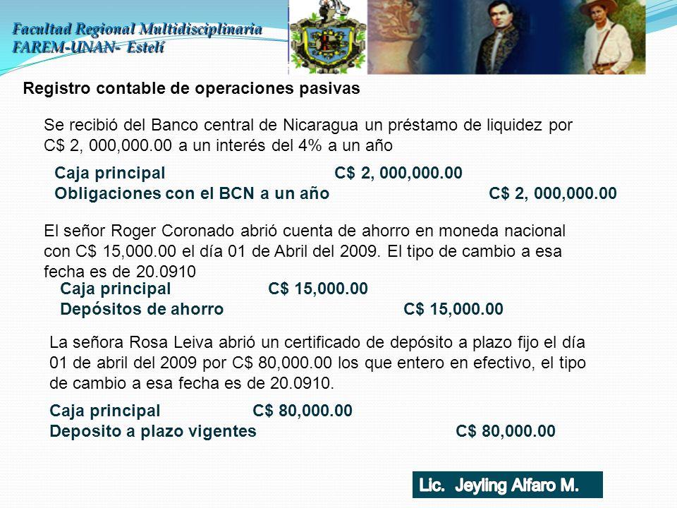 Facultad Regional Multidisciplinaria FAREM-UNAN- Estelí Registro contable de operaciones pasivas Se recibió del Banco central de Nicaragua un préstamo