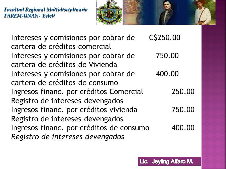 Facultad Regional Multidisciplinaria FAREM-UNAN- Estelí Intereses y comisiones por cobrar de C$250.00 cartera de créditos comercial Intereses y comisi