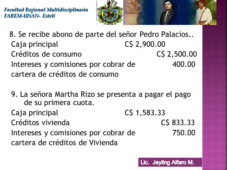 Caja principalC$ 2,900.00 Créditos de consumo C$ 2,500.00 Intereses y comisiones por cobrar de 400.00 cartera de créditos de consumo 9. La señora Mart