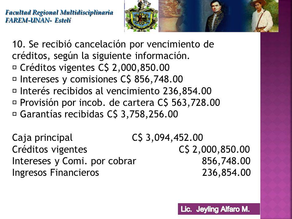 Facultad Regional Multidisciplinaria FAREM-UNAN- Estelí 10. Se recibió cancelación por vencimiento de créditos, según la siguiente información. Crédit