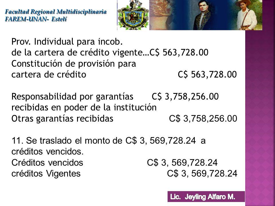 Facultad Regional Multidisciplinaria FAREM-UNAN- Estelí Prov. Individual para incob. de la cartera de crédito vigente…C$ 563,728.00 Constitución de pr