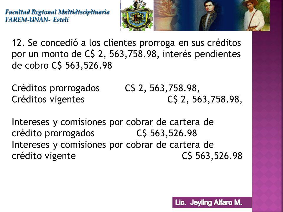 Facultad Regional Multidisciplinaria FAREM-UNAN- Estelí 12. Se concedió a los clientes prorroga en sus créditos por un monto de C$ 2, 563,758.98, inte