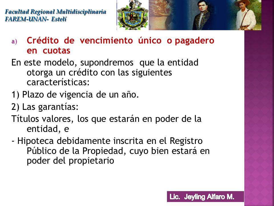 a) Crédito de vencimiento único o pagadero en cuotas En este modelo, supondremos que la entidad otorga un crédito con las siguientes características: