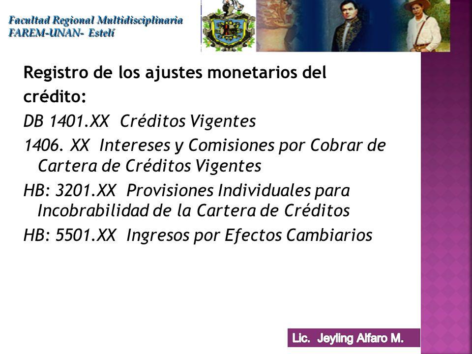 Registro de los ajustes monetarios del crédito: DB 1401.XX Créditos Vigentes 1406. XX Intereses y Comisiones por Cobrar de Cartera de Créditos Vigente