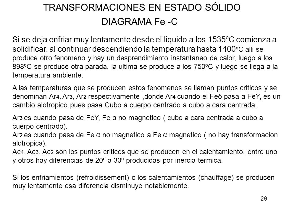29 TRANSFORMACIONES EN ESTADO SÓLIDO DIAGRAMA Fe -C Si se deja enfriar muy lentamente desde el liquido a los 1535ºC comienza a solidificar, al continu