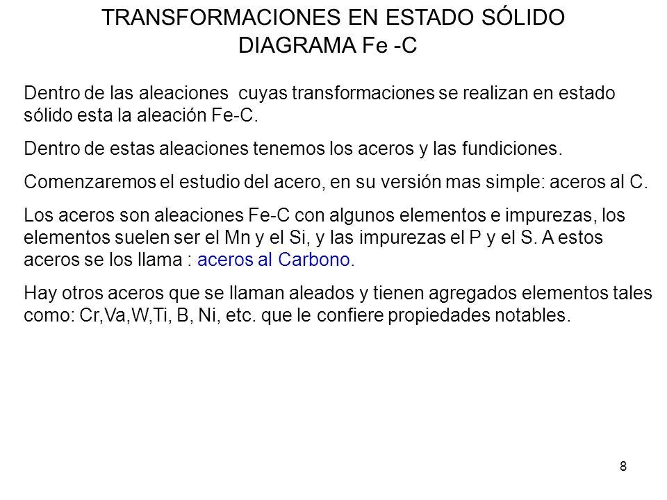 8 TRANSFORMACIONES EN ESTADO SÓLIDO DIAGRAMA Fe -C Dentro de las aleaciones cuyas transformaciones se realizan en estado sólido esta la aleación Fe-C.