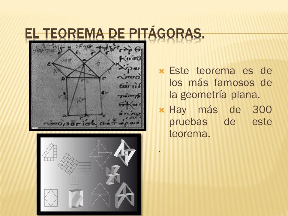 Este teorema es de los más famosos de la geometría plana. Hay más de 300 pruebas de este teorema..